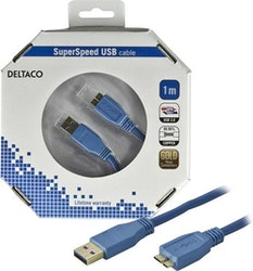 Deltaco USB 3.0 kabel Typ A ha - Typ Micro B ha 1m