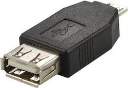 Deltaco USB-adapter Typ A ho - Typ Micro B ha, svart