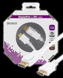 Deltaco DisplayPort till HDMI monitorkabel med ljud, Ultra HD 2m