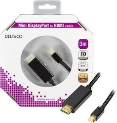 Deltaco Mini DisplayPort till HDMI-monitorkabel med ljud, Full HD