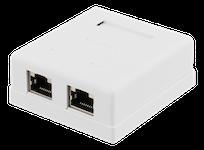 DELTACO skärmat vägguttag, utanpåliggande FTP 2xRJ45, Cat6, vit