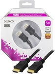 DELTACO HDMI kabel, HDMI High Speed with Ethernet, 4K, UltraHD i 30Hz, 5m, guldpläterade kontakter, 19-pin ha-ha, svart