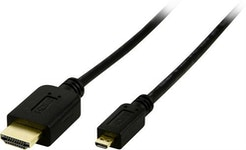 DELTACO HDMI kabel, HDMI High Speed with Ethernet, 4K, Ultra HD i 60Hz, HDMI Type A ha - Micro HDMI ha, guldpläterad, 2m, svart