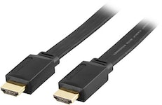 DELTACO platt HDMI kabel, HDMI High Speed with Ethernet, 4K, UltraHD i 30Hz, 5m, guldpläterade kontakter, 19-pin ha-ha, svart