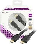DELTACO platt HDMI kabel, HDMI High Speed with Ethernet, 4K, UltraHD i 30Hz, 5m, guldpläterade kontakter, 19-pin ha-ha, svart