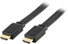 DELTACO platt HDMI kabel, HDMI High Speed with Ethernet, 4K, UltraHD i 30Hz, 7m, guldpläterade kontakter, 19-pin ha-ha, svart