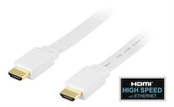DELTACO platt HDMI kabel, HDMI High Speed with Ethernet, 4K, UltraHD i 60Hz, 0,5m, guldpläterade kontakter, 19-pin ha-ha, vit