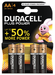 Duracell Plus Power AA Batterier, 4-Pack, alkaliska, long-life, svart