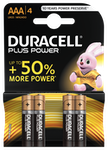 Duracell Plus Power AAA Batterier, 4-Pack, alkaliska, long-life, svart