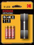 Kodak kompakt 9-LED-ficklampa, 46 lm, IP63, 25 m räckvidd, svart