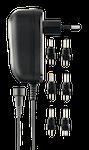 DELTACO nätadapter 110-230V till 3-12V DC, 600 mA, utbytbara kontakter, svart