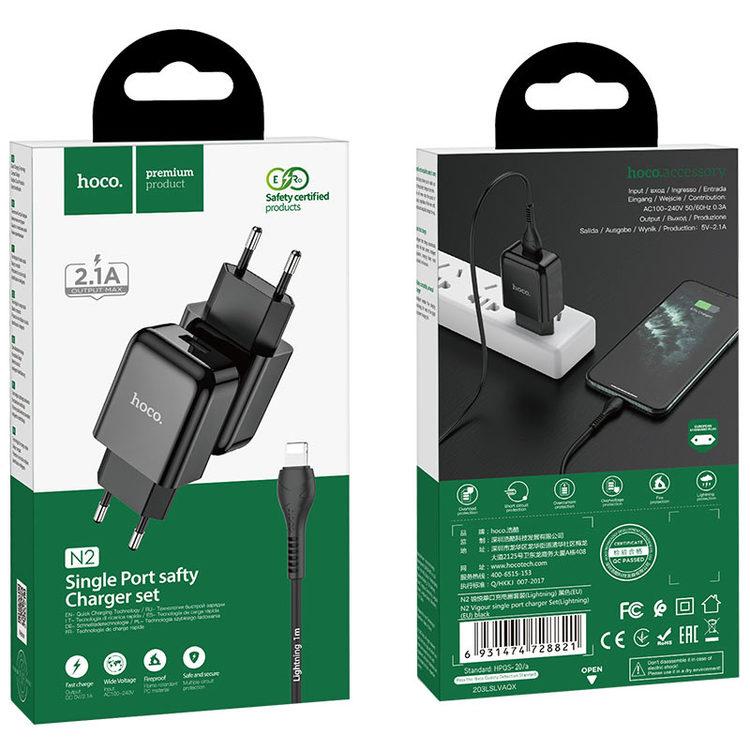 HOCO N2 Laddare med Lightning USB kabel, 2.4 Output Svart