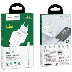 HOCO N2 Laddare med Type-C USB kabel, 2.4 Output Vit