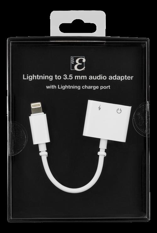 Epzi Lightning till 3,5 mm ljud-adapter, stödjer laddning och ljud, aluminium skal, vit