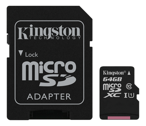 Kingston Canvas Select microSDXC-kort, 64GB, Klass 10 UHS-I