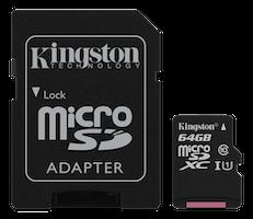 Kingston Canvas Select microSDXC-kort, 64GB, Klass 10 UHS-I