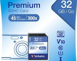 Verbatim minneskort, SDHC, 32GB, Secure Digital High-Capacity, Class 10