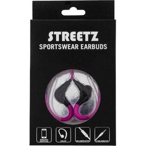 STREETZ Sporthörlurar Med Mikrofon, 3,5mm Anslutning, Öronbygel, Svarsknapp, Trasselfri, 1,2m Kabel, Rosa/Svart