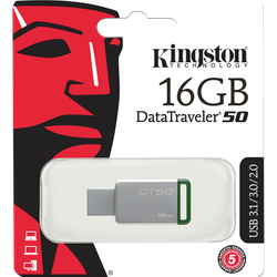 Kingston DataTraveler 50, USB 3.1 Gen 1-minne, 16GB, 30MB/s läs, 5MB/s skriv, silver/grön