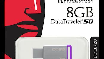 Kingston DataTraveler 50, USB 3.1 Gen 1-minne, 8GB, 30MB/s läs, 5MB/s skriv, silver/lila