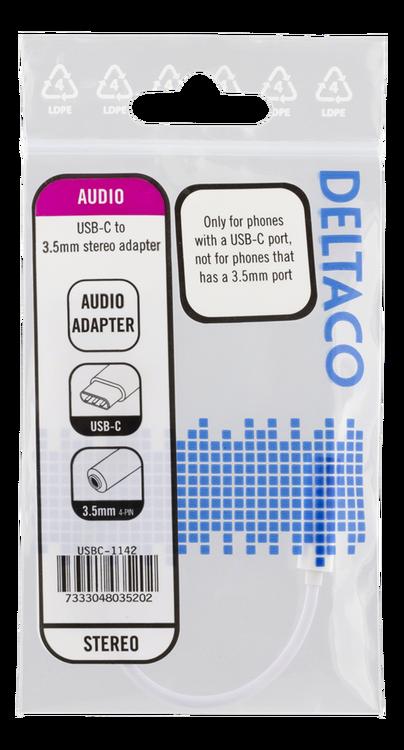 DELTACO USB-C till 3,5 mm adapter, stereo, 10 cm, vit