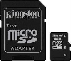 Kingston minneskort, microSDHC, 8GB, micro Secure Digita