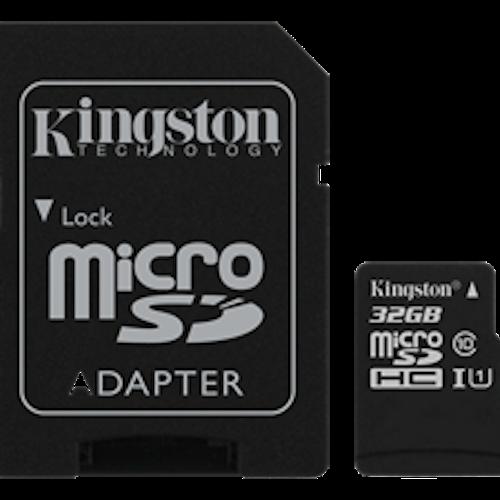 Kingston minneskort, microSDHC, 32GB, micro Secure Digital