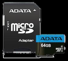 ADATA 64GB MicroSDXC minneskort med SD-adapter, UHS-I, Klass 10, A1, Blå