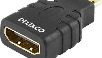 DELTACO HDMI-adapter, HDMI High Speed with Ethernet, 4K, Ultra HD, micro HDMI 19-pin ha till HDMI 19-pin ho, svart