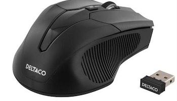 DELTACO trådlös optisk mus, 800-1600 DPI, 125 Hz, 7 knappar med scroll, 2.4GHz USB nano-mottagare, svart
