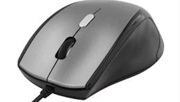 DELTACO optisk mus, 800-2400 DPI, 125 Hz, 4 knappar med scroll, USB, svart/ljusgrå, ergonomisk form