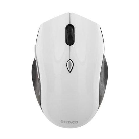 DELTACO trådlös optisk mus, 800-1600 DPI, 125 Hz, 7 knappar med scroll, 2.4GHz nano-mottagare, svart/vit