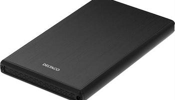 """DELTACO externt kabinett för 1x2,5"""" SATA-hårddisk, SATA 6Gb/s, USB 3.0, aluminium/plast, svart"""