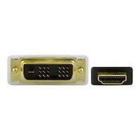 DELTACO HDMI-112, videokabel, HDMI/DVI, HDMI (hane) till DVI-D (hane), 2 m, svart