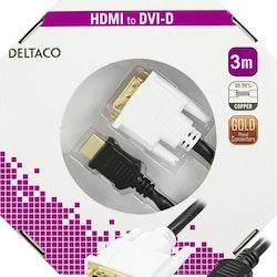 DELTACO HDMI till DVI-kabel, Full HD i 60Hz, 19-pin ha - DVI-D Single Link ha, 3m, svart/vit