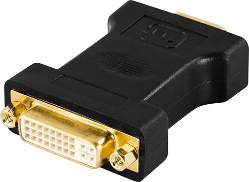 DELTACO DVI-adapter, DVI-I Single Link - VGA, 24+5-pin ho - 15-pin ha, guldpläterade kontakter