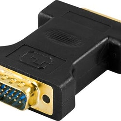 DELTACO DVI-adapter, DVI-I Single Link - VGA, 24+5-pin ho - 15-pin ha, guldpläterade kontakter