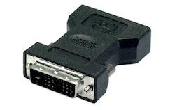 DELTACO DVI-8, DVI 18+1 pins adapter, DVI male naar HPCN20F, Zwart
