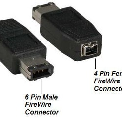 IEEE-1394 6-Pin Male to IEEE-1394 4-Pin Female