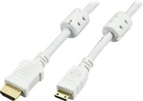 DELTACO HDMI kabel, HDMI High Speed with Ethernet, 4K, Ultra HD i 60Hz, HDMI Type A ha - Mini HDMI ha, guldpläterad, 2m, vit