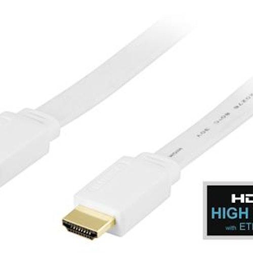 DELTACO platt HDMI kabel, HDMI High Speed with Ethernet, 4K, UltraHD i 30Hz, 5m, guldpläterade kontakter, 19-pin ha-ha, vit