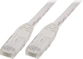 DELTACO U/UTP Cat5e patchkabel, 1m, 100MHz, Delta-certifierad, vit