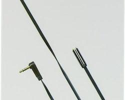 DELTACO ljudkabel, vinklad 3,5mm hane till 3,5mm hona, 1m, svart