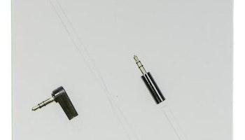DELTACO ljudkabel, vinklad 3,5mm hane - 3,5mm hane, 0,5m, vit