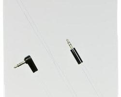 DELTACO ljudkabel, vinklad 3,5mm hane - 3,5mm hane, 1m, vit