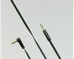 DELTACO ljudkabel, vinklad 3,5mm hane - 3,5mm hane, 1m, svart