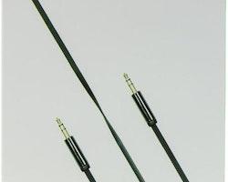 DELTACO ljudkabel, 3,5mm hane till 3,5mm hane, 1m, svart