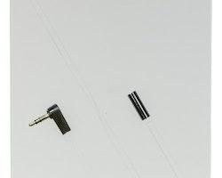 DELTACO ljudkabel, vinklad 3,5mm hane till 3,5mm hona, 0.5m, vit