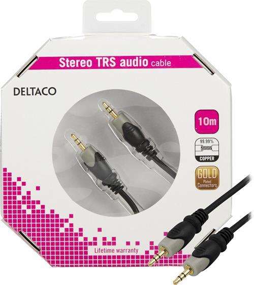 DELTACO ljudkabel, 3,5mm ha - ha, guldpläterad, 10m
