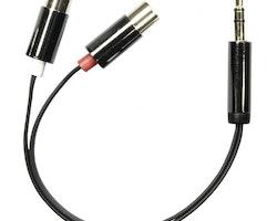 DELTACO ljudadapter, 2xRCA hona till 3,5mm stereo hane, 0,1m, svart